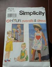 Simplicity 9572 Toddlers' Overalls & DressPattern Sizes 2 to 4 - UNCUT