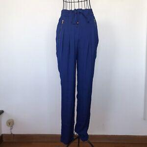 Pantaloni Zara taglia S effetto satinato blu elettrico