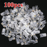 100X CAT6 RJ45 Pass Through Network Cable Modular Plug Connector Open End Plugs