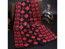 MEN Luxury Silk Blend Scarf Black & Red diamond Art Winter Fashion Accessory