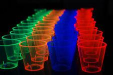 1oz 50 Count Neon Assorted Blacklight Reactive Plastic Shot Glasses