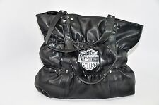 Harley Davidson Motorcycle Moto Oversize Bucket Shopper Handbag Tote Ruched Bag