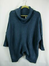 Elan OS M Navy Blue Oversized Sharkbite Cowl Neck Batwing Dolman Loose Sweater