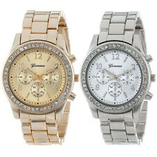 2 PACK Geneva Watch Silver and Gold Plated Classic Round Ladies Boyfriend Watch
