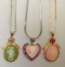 New 3 Pcs Lot Set Vintage Style Cameo Crystals Rhinestone Pendant Necklace S12B