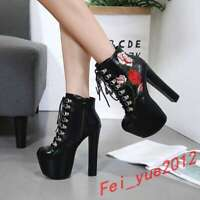 womens embroidery lace up block high heel platform ankle boots riding shoes 2020