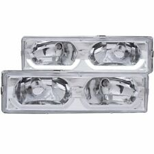 FOR 88-98 CHEVROLET C/K FULLSIZE LOW BROW STYLE CRYSTAL HEADLIGHTS CHROME CLEAR