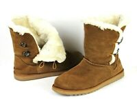WOMENS Genuine Suede Mid Calf Boots 11 Brown Two Button Closure Faux Fur Lining