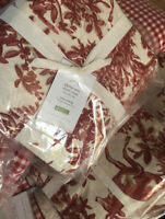 Pottery Barn Alpine Duvet Cover Red King 2 King Shams Christmas Deer Holiday New