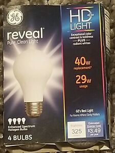 4 Pack GE Reveal HD + Light 40w Enhanced Spectrum Halogen Bulbs 67769