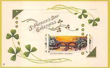 ST. PATRICK'S DAY HOLIDAY IRELAND OLD WEIR BRIDGE EMBOSSED POSTCARD (c.1910) 164