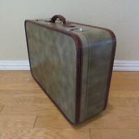 "Vintage 1940s 1950s Hartmann Suitcase 24""x16""x7"" Grey with Burgundy Leather Trim"