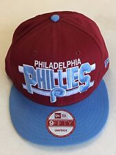NEW ERA PHILADELPHIA PHILLIES RETRO MAROON SKY BLUE BRIM SNAPBACK ADJUSTABLE HAT