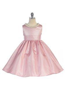Stunning Pink Satin Flower Girl Pageant Dress w/ Beaded Neckline, Crayon Kids