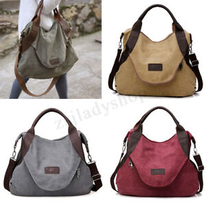 New Large Women Canvas Handbag Messenger Shoulder Bag Tote Purse Travel Satchel