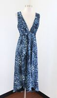 Bebe Blue Black Cheetah Print Silk V Neck Hi Lo Midi Maxi Dress Tie Size S