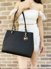 Michael Kors Sofia Susannah Large Chain Tote Black Saffiano Leather
