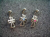 14g Blue CZ Gem Cut Out Cross Goth Belly Navel Ring #18 316L Surgical Steel