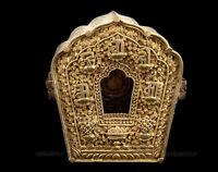 Gau Ghau Tibetano Budda Reliquiario in Ottone e in Metallo Cesellato 3392