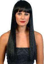 Longue Droite Noir Perruque Avec Frange Femme cher Popstar perruque robe fantaisie P1546