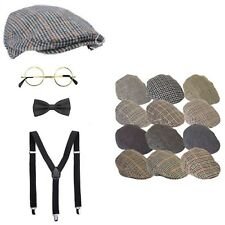 KIDS OLD MAN LOOK SET FLAT CAP GLASSES BRACES BOW PENSIONER OAP GRAN DAD GREY