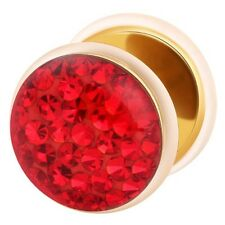 Fake Cheater Ear Plug Gold Plated with Multi Crystal Red