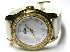 ladies Lacoste white mother of pearl crystals bling dress watch model 1.514.353