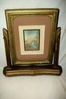 WALLACE NUTTING SIGNED HAND TINTED PHOTO PRINT ART DECO FRAME 1920's BIRCH TREES