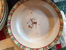 Spode Christmas Jubilee Reindeer Chevron Dinner Plates Set of 4