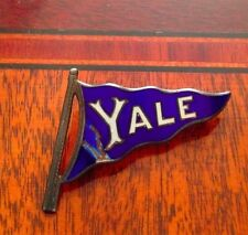 ANTIQUE enamel YALE COLLEGE flag PENNANT STERLING SILVER lapel hat PIN NICE!