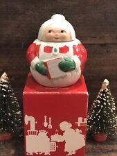 Vintage Avon Mrs. Claus Sugar Bowl w/Lid & Box 1983 Porcelain Christmas Decor
