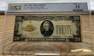 1928 $20 Gold Certificate, Fr.2402, PCGS VF25