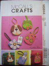 McCalls Crafts Pattern 5644 Fabric Cell Phone Case Flower Puppy Kitten UC NOS