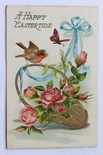 Old embossed postcard A HAPPY EASTERTIDE, basket with roses, bird butterfly 1909