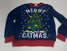 Boys Girls Youth sz L Ugly Cute Christmas Sweater Catmas