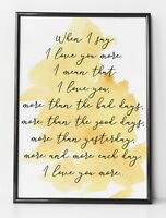 Love You More Personal Gift Watercolour Mustard Yellow Life Quote Wall Art Print
