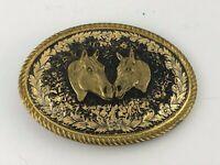 Vintage Brass Belt Buckle Double Horse head