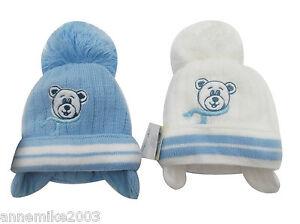Bnwt Jungen Warm Winter Little Ted Bommel Mütze in blau oder weiß 0-3 3-6 Monate