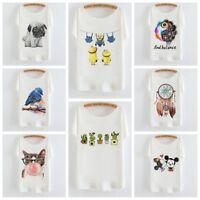 Summer Women Short Batwing Sleeve Tee Tops Animal Print Loose Cartoon T-Shirt