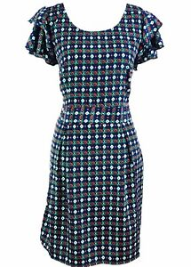 Vero Moda Blue Green Red Patterned Tea Dress, Size 42 14 Summer Beach Bbq