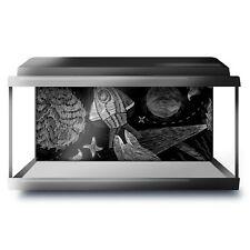 Fish Tank Background 90x45cm BW - Cool Rocket Stars Planets Space Kids  #41497