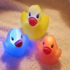 Kids Bath Toy LED Ducks Squeaky Flashing Floating Rubber LED Coloured Light Up