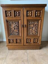 Vintage Liquor Cabinet Dry Bar, Exotic Hand Carved Bohemian Style