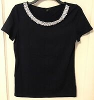 Talbots navy knit top Size Small white beaded trim CAREER cotton blend NAUTICAL