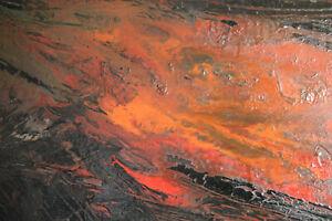 Tableau XXe s Abstrait Le feu signé