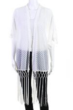Ange Women's Short Sleeve Fringe Shrug White Size One Size