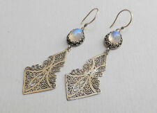 Long Dangle Natural Moonstone Gemstone Dangle Earrings/925 Sterling Silver