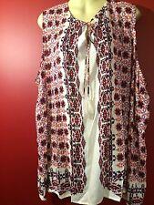 LUCY & LAUREL Women's White Print Sleeveless Rayon Blouse - Size 3X - NWT