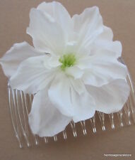 White Apple Blossom  Silk Flower Hair Comb,Bridal,Luau,Rockabilly,Dance,Party