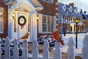 Darrell Bush Winter Song Cardinal Holiday Art Print-Signed 18 x 13